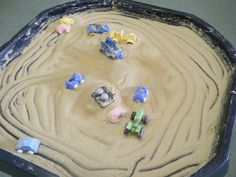 Making marks and patterns just running vehicles around in the sand mousse - picture only Nursery Activities, Toddler Activities, Activities For Kids, Toddler Games, Indoor Activities, Early Years Maths, Early Years Classroom, Mark Making Early Years, Eyfs Classroom