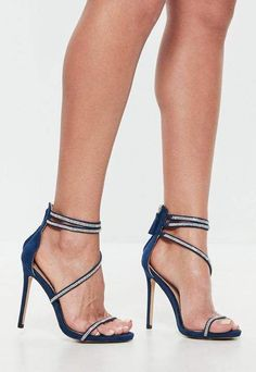 63bb59b84b3616 Missguided Navy Faux Suede Strappy Embellished Barely There Heeled Sandals  Sexy Sandals