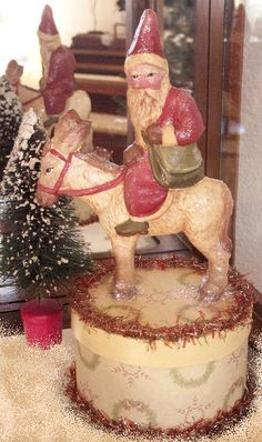 Vintage Style Paper Mache Santa on Burro by sweetinvocations, $145.00