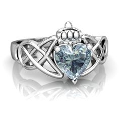 Aquamarine Claddagh Celtic Knot 14K White Gold ring R2367 - front view I want this!
