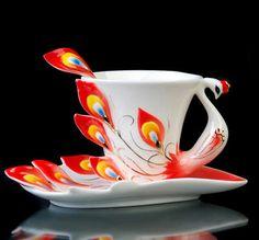 Red Peacock+Coffee/Tea Set+Mug/Cup+Saucer+Spoon