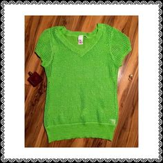"Be My Valentine!  Green hearts Sparkle Sweater Cute green knit short sleeve sweater with heart accents and a sparkling hue.  Excellent preloved condition. Cotton acrylic blend. 27"" long with an unstretched 38"" bust (but very stretchy!) Oh MG Tops"