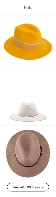 """hats"" by aleftina-alla ❤ liked on Polyvore featuring accessories, hats, maison michel, maison michel hats, yellow hat, felt hat, cocoa, logo hats, bow hat and chapéus"