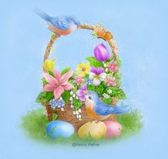 Easter - By: Artist Penny Parker Easter Art, Easter Crafts, Easter Bunny, Easter Eggs, Easter Images Clip Art, Decoupage, Penny Parker, Marjolein Bastin, Easter Pictures