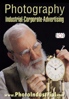 Advertising photo for medicine lab brochure of aged man with spectacles fixing antique watch. Farmitalia Carlo Erba, Rio de Janeiro, Brazil.