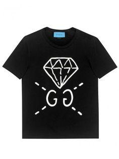 GucciGhost Men's Short Sleeved T-Shirt (Black) Mens Printed Shirts, Mens Polo T Shirts, T Shirts For Women, Men's Shirts, Cotton Shirts, Mens Tees, Gucci Sweatshirt, Diamond T Shirt, Gucci Men