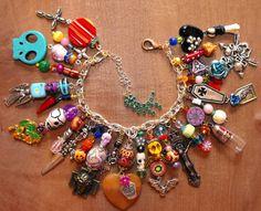 Amanda Olivo Day of the Dead ooak Charm Bracelet - MEXICAN FOLK ART Loaded Skulls Vial pendant