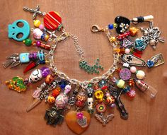 Amanda Olivo Day of the Dead ooak Charm Bracelet - MEXICAN FOLK ART Loaded Skulls Vial pendant