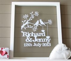 This is an original and unique papercut keepsake cut exclusively for you. It makes a wonderful wedding or anniversary gift for the happy couple. This piece is cut from a single piece of cardstock in white but other colours can be chosen. If purcha Cricut Wedding, Wedding Cards, Paper Cutting, Vinyl Projects, Craft Projects, Vinyl Gifts, Creation Deco, Personalized Wedding Gifts, Personalised Gifts Valentines