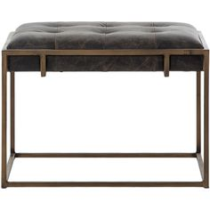 Bryson Industrial Loft Tufted Ebony Leather Brass End Table (€520) ❤ liked on Polyvore featuring home, furniture, tables, accent tables, black accent table, brass end table, industrial table, black table and tufted table