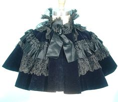 c. 1890's Capelet of Deep Sapphire Blue Velvet, Black Silk and Black Lace | Antique Dress - Item for Sale