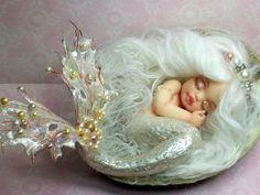 OOAK art doll fantasy mermaid baby polymer by JoyzanzCreations, $164.00