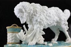 ANTIQUE ROBINSON & LEADBEATER DOG GROUP FIGURINE MATCHHOLDER 'RETRIBUTION' 1872
