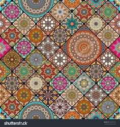 Colorful Vintage Seamless Pattern With Floral And Mandala Elements.Hand Drawn Background. Can Be Used For Fabric, Wallpaper, Tile, Wrapping, Covers And Carpet. Islam, Arabic, Indian, Ottoman Motifs. Стоковая векторная иллюстрация 539357572 : Shutterstock