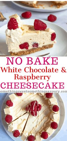 This No Bake White Chocolate and Raspberry Cheesecake is so creamy and delicious! Buttery biscuit base, creamy white chocolate filling and bursts of fresh raspberries! It's a fabulous choice for a celebration dessert. Chocolate Chip Cookies, Homemade Oreo Cookies, Homemade Desserts, Easy Cake Recipes, Baking Recipes, Dessert Recipes, Party Desserts, Raspberry Cheesecake Cookies, Baked Cheesecake Recipe