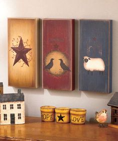 Country Primitive Wall Art Wooden Decor Berries Barn Star Folk Art Decor by joann Primitive Wood Crafts, Primitive Painting, Primitive Folk Art, Tole Painting, Country Primitive, Primitive Lamps, Primitive Wall Decor, Primitive Furniture, Country Wall Decor
