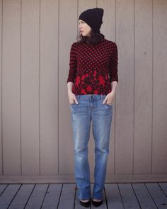 Red and black sweater with boyfriend jeans