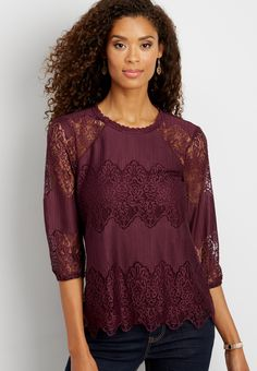 lacy top with keyhole back (original price, $32.00) available at #Maurices