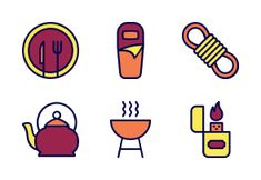 'Camping and Scout - Filled Outline' by Haseba Studio Camping Icons, Outline, Studio, Outdoors, Nature, Naturaleza, Studios, Outdoor Rooms, Nature Illustration