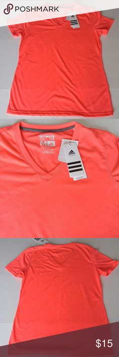 Adidas ultimate tee. Nwt Adidas ultimate tee. Climate control. Color is a hot coral pink. Adidas Tops Tees - Short Sleeve