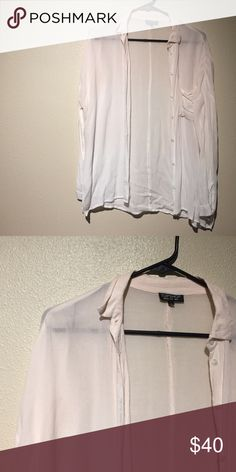 Topshop button down Worn a few times. No flaws. Button down. Pink white ombré. Super soft. And light. Super cute Topshop Tops Button Down Shirts