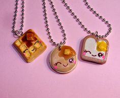 best friends necklaces for 3, waffle, toast and pancake.