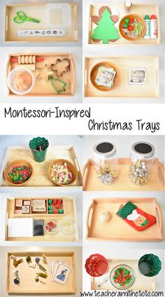 Christmas Shelf Work for Toddlers and Infants - Teacher and the Tots Montessori-inspired ideas for toddler and infant Christmas trays Montessori Baby, Montessori Trays, Montessori Homeschool, Montessori Classroom, Montessori Activities, Montessori Bedroom, Dinosaur Activities, Homeschooling, Toddler Learning Activities