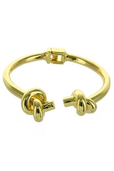 Stainless steel bracelet with gold plated and double knot on the ends.  Measurements: 6 in large / 0.6 in wide approx. Double Knot Bracelet by Pink Revolver. Accessories - Jewelry - Bracelets Mexico
