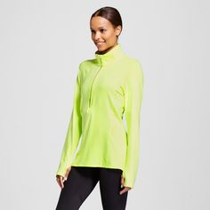 Women's Run Half Zip Pullover - Light Yellow XL - C9 Champion, Washed Lime