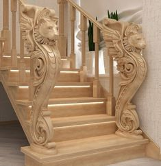 Wooden Staircase Railing, Stairs, Garden Tree House, Tv Cabinet Design, Classic House Design, Wooden Steps, Railing Design, Carving Designs, Wood Art