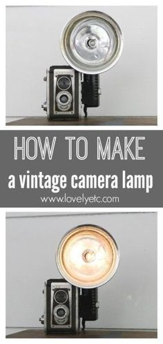 Vintage Decor Diy How to Make a Vintage Camera Lamp by Lovely Etc - Find out how to turn a vintage camera into a lamp. All you need are a few basic supplies from the hardware store for this easy DIY light. Antique Cameras, Old Cameras, Vintage Cameras, Vintage Camera Decor, Look Vintage, Vintage Diy, Diy Luminaire, Nachhaltiges Design, Dslr Photography Tips