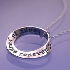 This contemporary silver or gold pendant is finely engraved in Italian in an ancient Carolingian minuscule script. The sentiment is timeless; beautiful, romantic and meaningful. Perfect for a Valentin