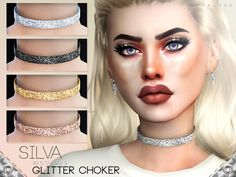 Glittery choker in 20 colors.  Found in TSR Category 'Sims 4 Female Necklaces'