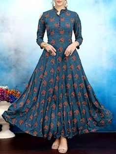 Buy Elevate Blue Geometric Print Cold Shoulder Maxi Kurti online in India at best price. Indian Gowns Dresses, Indian Outfits, Ethnic Fashion, Indian Fashion, Classy Fashion, Casual Dresses, Fashion Dresses, Anarkali Dress, Jackie Kennedy
