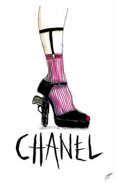 Chanel Shoe Illustration