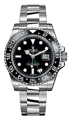 Steel Oyster Perpetual GMT-Master II watch ($8,450) by Rolex Read more: Best Watches for Men - Best Luxury Watches for Men 2012 - Esquire http://www.esquire.com/style/best-watches-for-men-working-2012#ixzz2NWPkij6b Love the new green dual timezone hand! http://www.aandewatches.com/mens-used-rolex-watches-sports-models/used-rolex-gmt-masterii-preowned-watches-mem/rolex-gmt2-rmgmt07.html