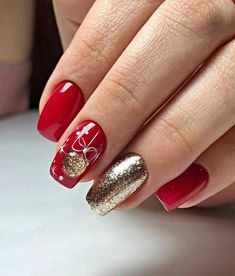 Frensh Nails, Red Nails, Cute Nails, Pretty Nails, Classy Nails, Stylish Nails, Simple Nails, Christmas Gel Nails, Holiday Nails