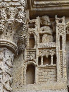 Romanesque sculpture from Saint-Hilaire monastic church in Semur-en-Brionnais, Burgundy (France)