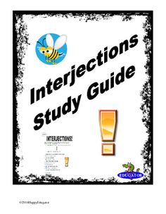 Interjections Study Guide Worksheet with Practice Exercises Grammar Worksheets, English Lessons, Public School, Sentences, Exercises, Study, Education, Digital, Frases