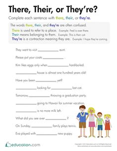 Third Grade Spelling Comprehension Vocabulary Worksheets: There, Their, or They're? This is a good assignment for the students to practice since this tends to be a big problem. Teaching Grammar, Teaching Writing, Teaching English, Spelling And Grammar, 4th Grade Spelling, Spelling Homework, Teaching Kids, Spelling Worksheets, Reading Worksheets