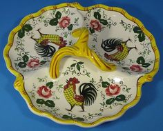 Vintage 40s or 50s PY Japan Rooster and Roses Eary Provincial Triple Relish Dish