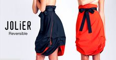 Double side black-orange wrap skirt with black ribbon belt. By simply turning the skirt inside out you can change the colour from office to party from casual to outstanding. Ribbon Belt, Black Ribbon, Strapless Dress Formal, Formal Dresses, Reversible Dress, Inside Out, Turning, Change, Colour