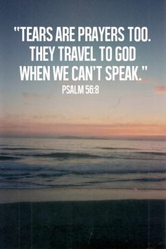 """""""You keep track of all my sorrows. You have collected all my tears in your bottle. You have recorded each one in your book."""" (Psalm 56:8, NLT) More"""