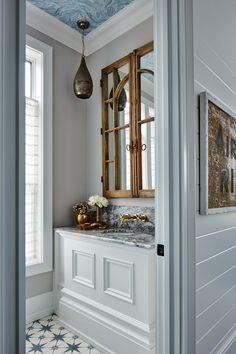 Metrie's Fashion Forward baseboard makes a grand appearance in Sarah Richardson's powder room.