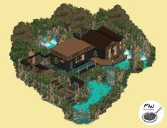 Habbo Pixel, Pixel Art, Witches Castle, Isometric Art, Charming House, Winter Cabin, Minecraft Designs, Funny Games, Pretty Art