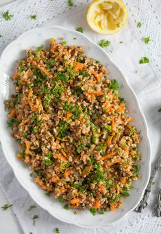 Vegan roasted buckwheat salad recipe with carrots, scallions and a sweet and lemony dressing. Veggie Recipes, Whole Food Recipes, Salad Recipes, Diet Recipes, Vegetarian Recipes, Cooking Recipes, Healthy Recipes, Vegan Buckwheat Recipe, Buckwheat Salad