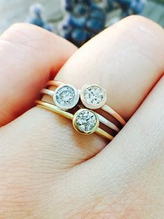 SET: Diamond Solitaire Bezel on Top Solid by stonesandgold on Etsy