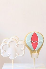 vintage hot air balloon and cloud cookies