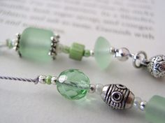 Green glass and pewter beaded book thong