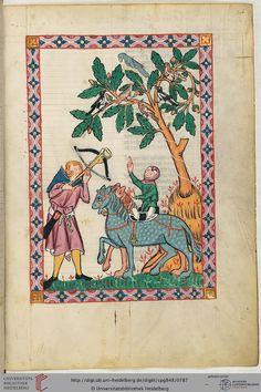 Kol von Nüssen war möglicherweise Niederösterreicher, der aus Neunzen bei Zwettl stammte. Seine Minnelieder entstanden wohl um 1230 bis 1250. Der Minnesänger wird auf dieser Miniatur bei der Beizjagd gezeigt.